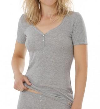 Comazo Earth Dámské žebrované tričko z biobavlny - světle šedá melange