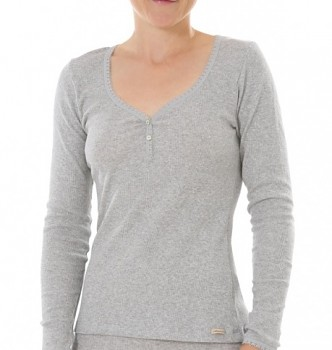 Comazo Earth Dámské žebrované triko s dlouhými rukávy z biobavlny - světle šedá melange