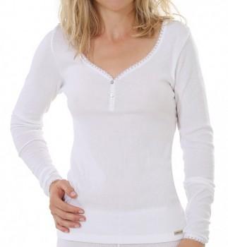 Comazo Earth Dámské žebrované triko s dlouhými rukávy z biobavlny - bílá