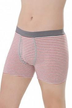 COMAZO EARTH Pánské boxerky s nohavičkami z biobavlny - šedočervený proužek