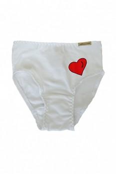 Comazo Earth dívčí kalhotky z biobavlny - bílá se srdíčkem