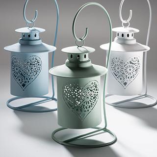 HANGING HEART svícen na čajovou svíčku - modrá, bílá, zelená