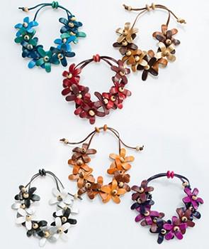 FLOWER kožený náramek - různé barvy