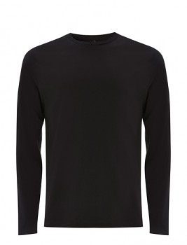 Pánské tričko s dlouhými rukávy z 100% biobavlny - černá