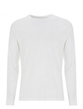 Pánské tričko s dlouhými rukávy z 100% biobavlny - bílá