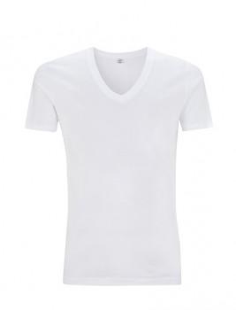 Pánské tričko s krátkými rukávy a výstřihem do V z 100% biobavlny - bílá