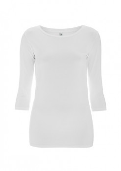 Dámské strečové tričko s 3/4 rukávy z biobavlny - bílá