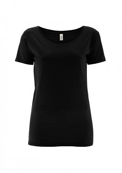 Dámské tričko s velkým výstřihem ze 100% biobavlny - černá