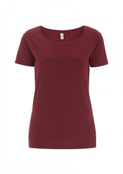 Dámské tričko s velkým výstřihem ze 100% biobavlny - fialová burgundy