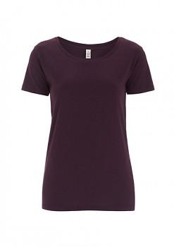 Dámské tričko s velkým výstřihem ze 100% biobavlny - fialová lilková