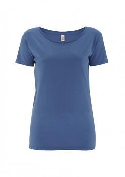 Dámské tričko s velkým výstřihem ze 100% biobavlny - modrá faded denim