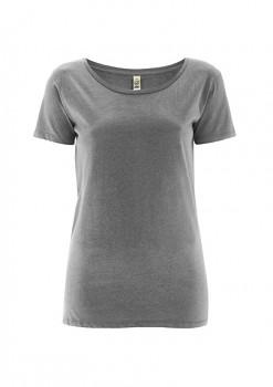 Dámské tričko s velkým výstřihem ze 100% biobavlny - šedá melange