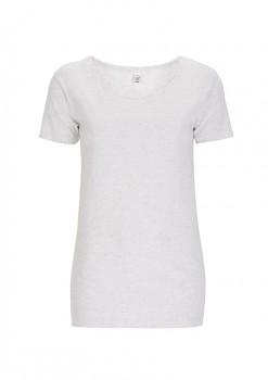 Dámské tričko s velkým výstřihem ze 100% biobavlny - bílá melange