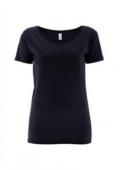 Dámské tričko s velkým výstřihem ze 100% biobavlny - tmavě modrá navy
