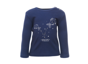 PISCES dětské tričko s dlouhými rukávy ze 100% biobavlny - tmavě modrá