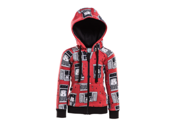 RAIN WATCHERS dětská fleesová bunda s kapucí z biobavlny - červená