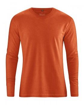 DIEGO pánské tričko s dlouhým rukávem z biobavlny a konopí - oranžová fox