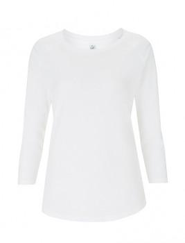 Dámské tričko s raglánovými 3/4 rukávy z tencelu a biobavlny - bílá