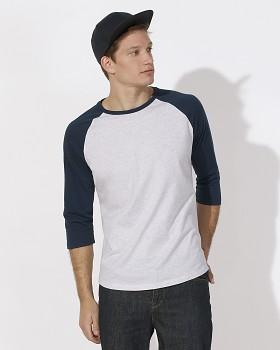 S&S BASEBALL unisex tričko s kulatým výstřihem ze 100% biobavlny - heather ash/navy