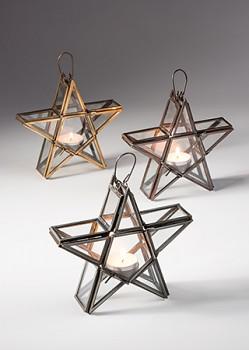 STAR LANTERN svítilna na čajové svíčky - stříbrná, bronzová, zatá