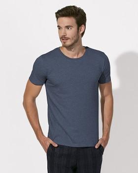 STANLEY LEADS Pánské tričko s krátkým rukávem ze 100% biobavlny - modrá dark heather blue