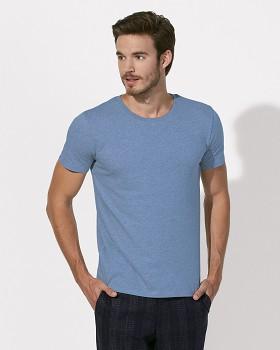 STANLEY LEADS Pánské tričko s krátkým rukávem ze 100% biobavlny - modrá mid heather blue
