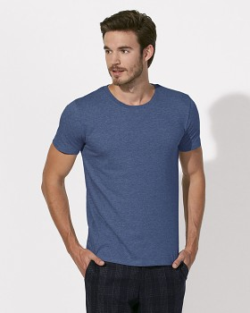 STANLEY LEADS Pánské tričko s krátkým rukávem ze 100% biobavlny - modrá dark heather indigo