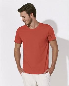 STANLEY LEADS Pánské tričko s krátkým rukávem ze 100% biobavlny - červená hot coral