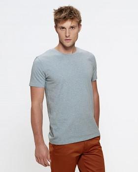 STANLEY LEADS Pánské tričko s krátkým rukávem ze 100% biobavlny - modrá heather ice blue