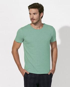 STANLEY LEADS Pánské tričko s krátkým rukávem ze 100% biobavlny - zelená mid heather green