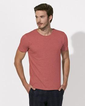 STANLEY LEADS Pánské tričko s krátkým rukávem ze 100% biobavlny - červená mid heather red