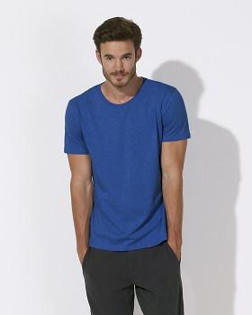 STANLEY LEADS Pánské tričko s krátkým rukávem ze 100% biobavlny - modrá mid heather royal blue