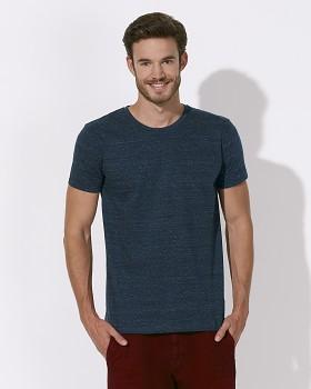 STANLEY LEADS Pánské tričko s krátkým rukávem ze 100% biobavlny - modrá dark heather denim