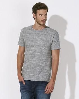 STANLEY LEADS Pánské tričko s krátkým rukávem ze 100% biobavlny - šedá slub heather grey