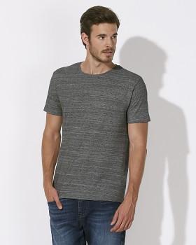 STANLEY LEADS Pánské tričko s krátkým rukávem ze 100% biobavlny - šedá slub heather steel grey