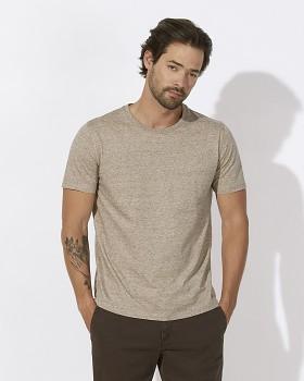 STANLEY LEADS Pánské tričko s krátkým rukávem ze 100% biobavlny - béžová slub mid heather clay