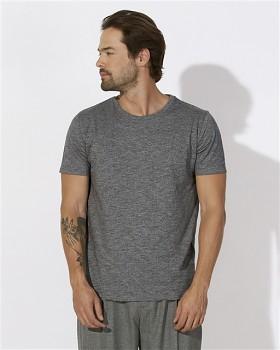 STANLEY LEADS Pánské tričko s krátkým rukávem ze 100% biobavlny - šedá marble slub heather black