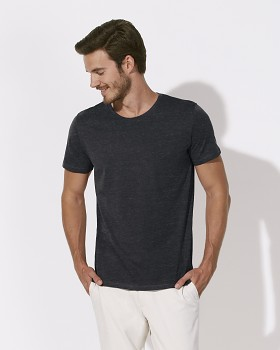 STANLEY LEADS Pánské tričko s krátkým rukávem ze 100% biobavlny - černá heather denim