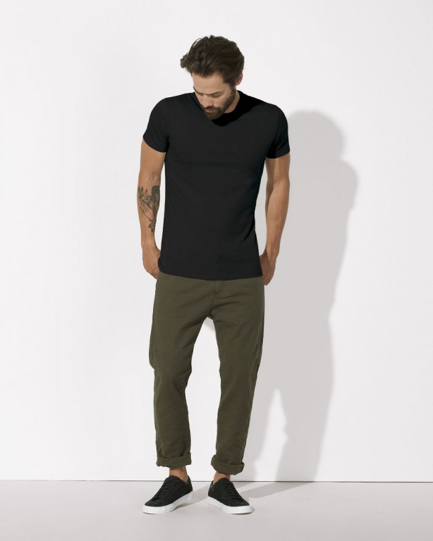 5ad00a59720a STANLEY FEELS Pánské tričko slim fit s krátkým rukávem ze 100% biobavlny -  černá