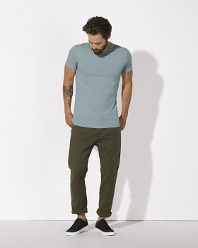 STANLEY FEELS Pánské tričko slim fit s krátkým rukávem ze 100% biobavlny - modrá citadel