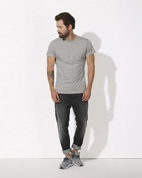 STANLEY FEELS Pánské tričko slim fit s krátkým rukávem ze 100% biobavlny - šedá heather