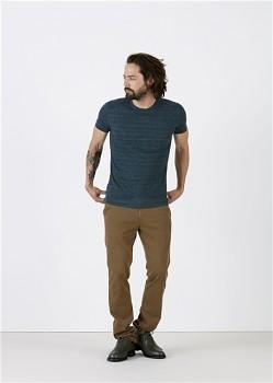 STANLEY FEELS Pánské tričko slim fit s krátkým rukávem ze 100% biobavlny - tmavě modrá dark heather denim