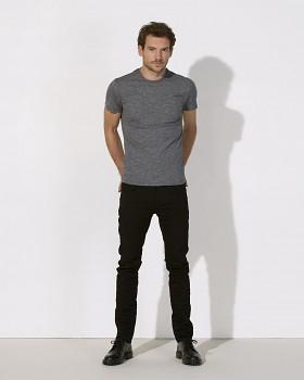 STANLEY FEELS Pánské tričko slim fit s krátkým rukávem ze 100% biobavlny - tmavě šedá marble slub heather black
