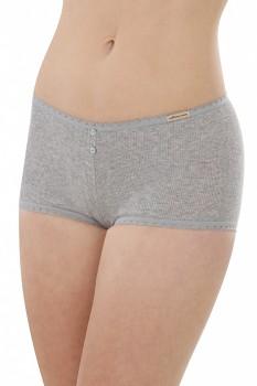 Comazo Earth Dámské žebrované bokové kalhotky z biobavlny - šedá