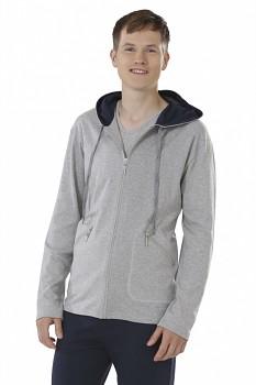 Pánská mikina na zip s kapucí ze 100% biobavlny - šedá melange