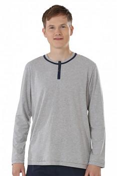 Pánské pyžamové triko s dlouhými rukávy z biobavlny - šedá melange