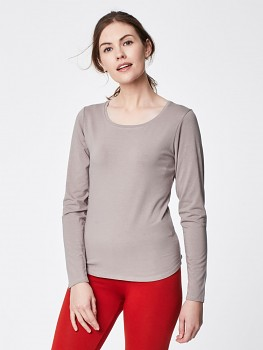 ESSENTIAL dámský top s dlouhými rukávy z bambusu a biobavlny - šedá warm grey