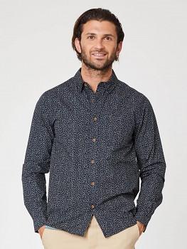 GREATER SPOTTED pánská košile s dlouhým rukávem ze 100% biobavlny - tmavě modrá navy