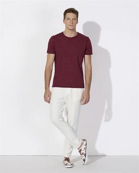 STANLEY HIPS Pánské tričko s krátkým rukávem ze 100% biobavlny - fialová burgundy melange