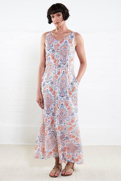 MOCK dámské letní maxi šaty ze 100% biobavlny - sherbet 5f89f05e90